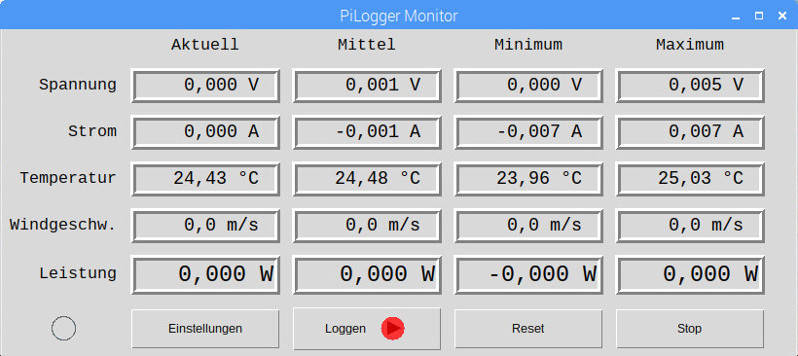 Screenshot PiLogger Monitor Temperatur